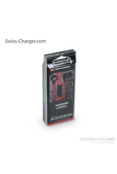 Swiss Charger SCS 20003 Mikrofonlu Kırmızı Kulakiçi Kulaklık