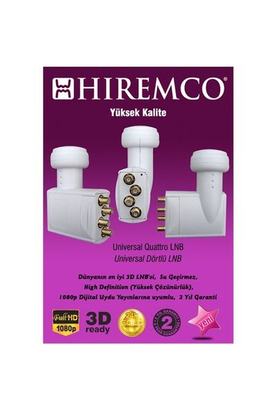 Hiremco 3D-Full HD Quattro Santral LNB
