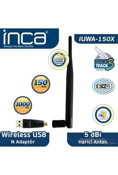 Inca IUWA-150x 150 Mbps 11N Harici 5dbi Anten Wireless Adaptör