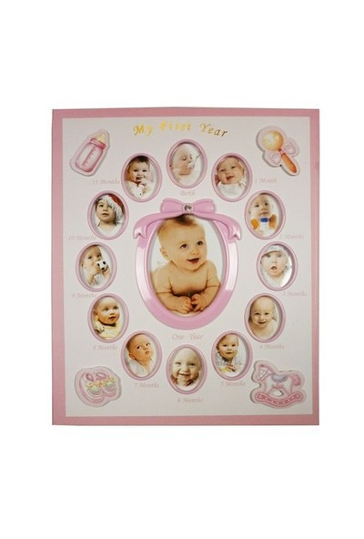 240'Lık Bebek Fotoğraf Albümü 12 Ay Fotoğraf Çerçevesi-Pembe
