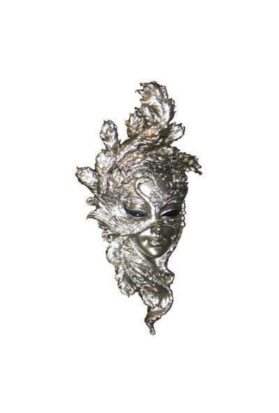 Gold Dekor Tavuskuşu Maske Gümüş Renk