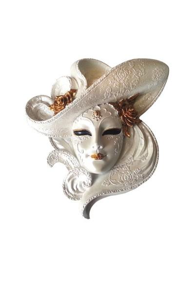 Gold Dekor Şapkalı Maske Sedef Renk