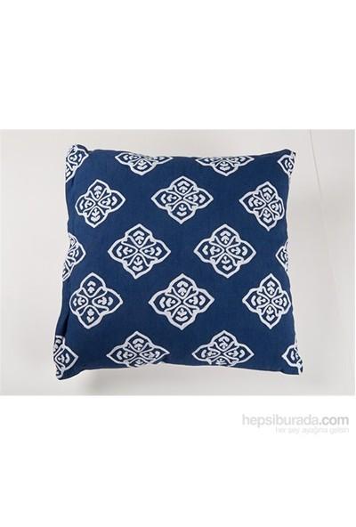 I Love Home Lacivert Beyaz Desenli Yastık