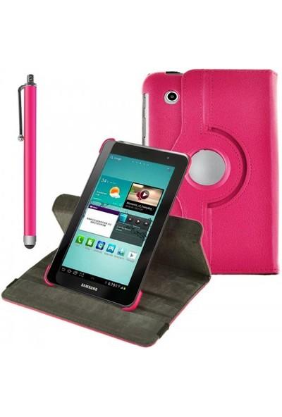 Romeca Samsung P6200 Galaxy Tab 2 360 Derece Dönebilen Pembe Kılıf