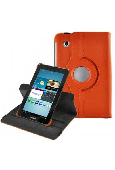 Romeca Samsung P6200 Galaxy Tab 2 360 Derece Dönebilen Turuncu Kılıf