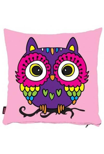 Bengü Accessories Baykuş Desenli Dekoratif Yastık 41 40X40 Cm