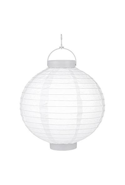 Pandoli 25 Cm Led Işıklı Kağıt Japon Feneri Beyaz Renk