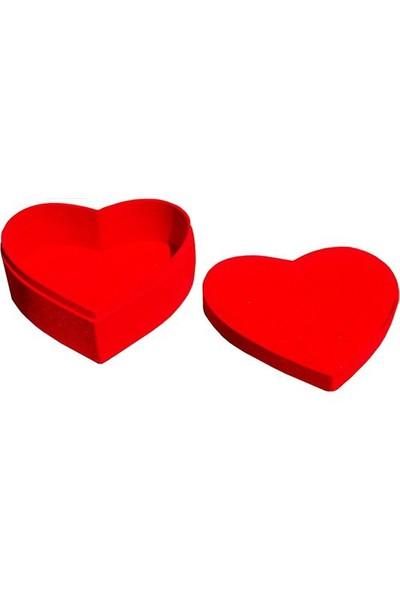 Kırmızı Suet Kadifeden Yapılmış Kalp Şekilli Kutu
