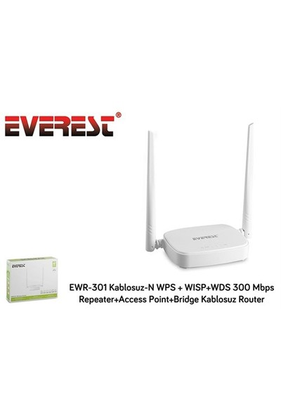 Everest Ewr-301 Kablosuz-N Wps + Wısp+Wds 300 Mbps Repeater+Access Point+Bridge