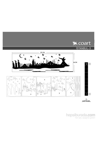 İstanbul-1 Kadife Duvar Sticker 86X291 Cm