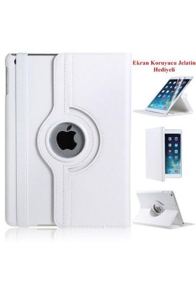 Romeca iPad Air 2 360 Derece Dönebilen Beyaz Tablet Kılıfı + Ekran Koruma Filmi Hediyeli