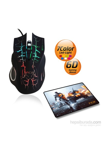 Inca IMG-369 Oyuncu Mouse + Oyuncu Mousepad
