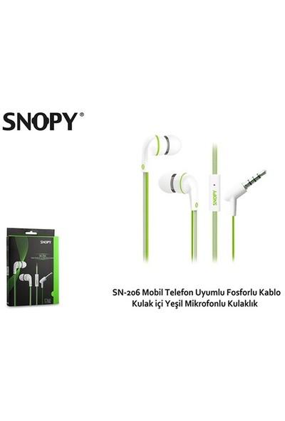 Snopy SN-206 Mobil Telefon Uyumlu Fosforlu Kablo Kulak içi Yeşil Mikrofonlu Kulaklık