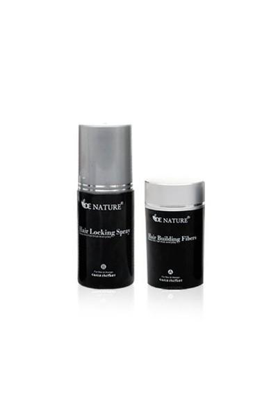 De Nature Saç Dolgunlaştırıcı Fiber 22 Gr + Toz 100Ml Sprey Renk Siyah