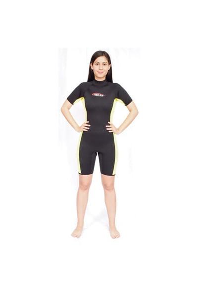 Free-Sub Shorty Kadın Dalış Elbisesi 3Mm Siyah Beden:Xs