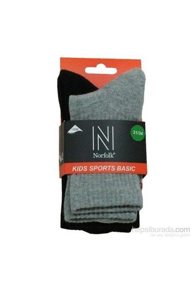 Norfolk Çocuk Çorap Siyah Gri
