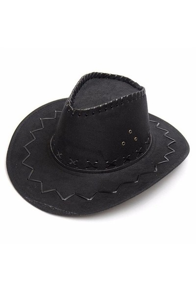 Pandoli Yetişkin Nubuk Kovboy Şapkası Siyah Renk