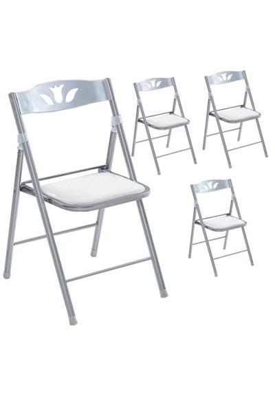 Vural Katlanır Kırma Katlanabilir Sandalye Takım - 4 Adet