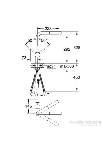 Grohe Minta Tek Kumandalı Spiralli Eviye Bataryası - 32168000