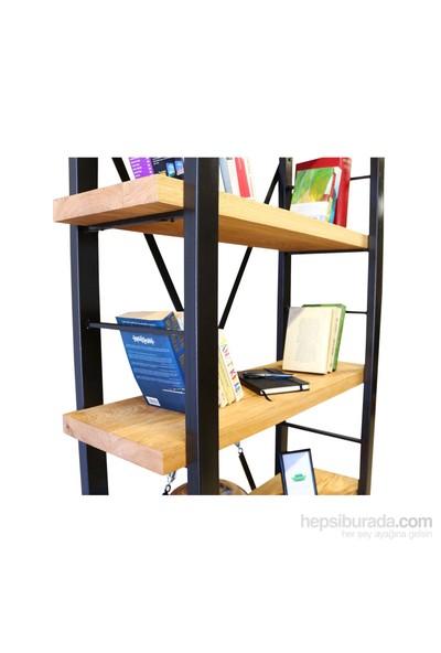 Mozilya Timber Meşe Masif Ahşap Kitaplık 200 cm