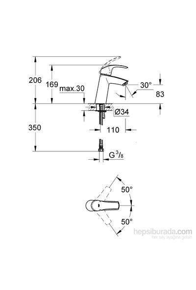Grohe Eurosmart Tek Kumandalı Lavabo Bataryası - 23324001