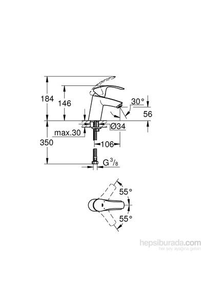 Grohe Eurosmart Tek Kumandalı Lavabo Bataryası S-Boyut - 32467002