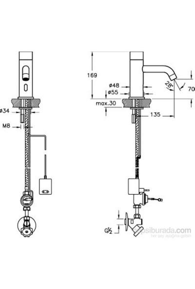Artema Aquasee Fotoselli Lavabo Bataryası (Tek Su Girişli, Elektrikli)