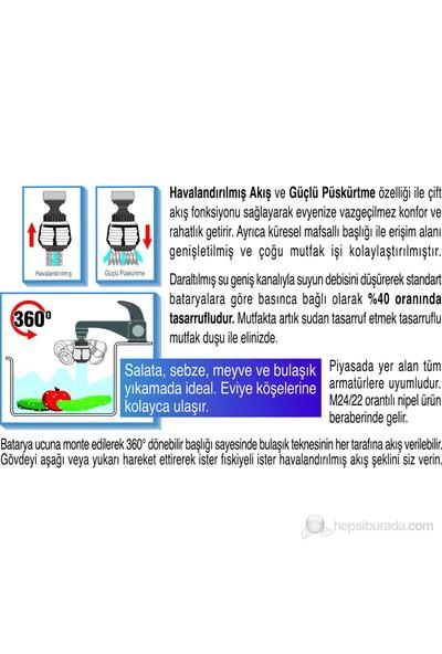 Universal® Oynar Başlıklı Çift Akış Fonksiyonlu Tasarruflu Musluk Duşu (Tasarruflu)