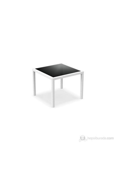 Siesta 870 Bali Kare Masa 94X94 Cm (Temperli Siyah Camlı) Beyaz