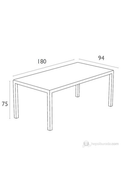 Siesta 880 Tahıtı Dikdörtgen Masa 94X180 Cm (Temperli Siyah Camlı) Beyaz