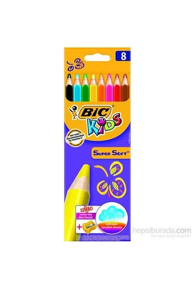 Bic Kids Supersoft Yumuşak Kuru Boya Kalemi 8 Renk + Jumbo Kalemtraş