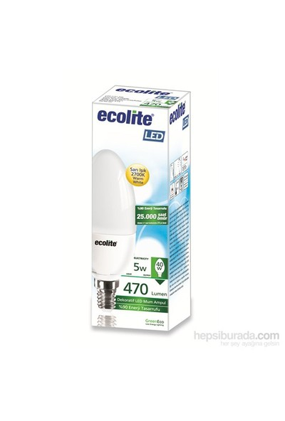 Ecolite Led Mum Ampul 5W E14 Sarı Işık