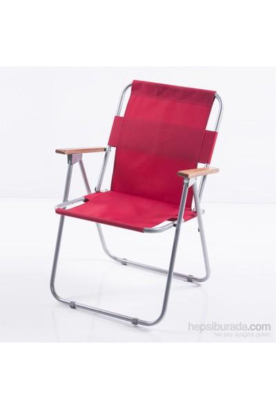 Ellnaz Ağaç Kollu Katlanır Piknik Sandalyesi Kırmızı