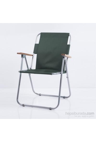 Ellnaz Ağaç Kollu Katlanır Piknik Sandalyesi Yeşil