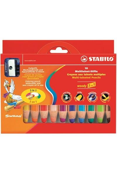 Stabilo Woody Boya Kalemi 3in1 10 Renk + Kalemtıraş