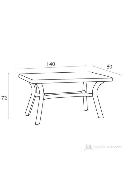Siesta 182 Roma 80X140 Cm Dikdörtgen Masa Beyaz