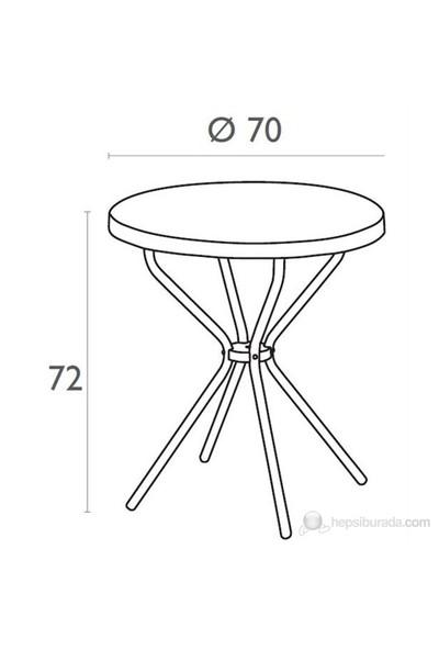 Siesta 710 Elfo 70Cm Yuvarlak Masa (Alüminyum Ayaklı) Beyaz