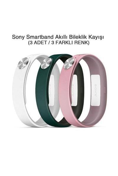 Sony SmartBand SWR110 Akıllı Bileklik Kayışı (Beyaz+Pembe+Koyu Yeşil (Large)