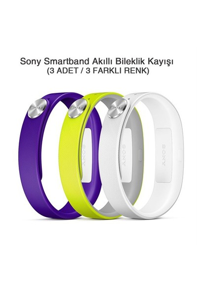 Sony SmartBand SWR110 Akıllı Bileklik Kayışı (Mor+Yesil+Beyaz) (Large)