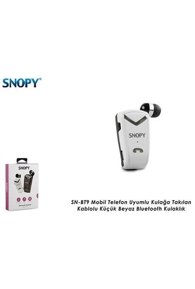 Snopy Sn-Bt9 Mobil Telefon Uyumlu Kulağa Takılan Kablolu Küçük Beyaz Bluetooth Kulaklık