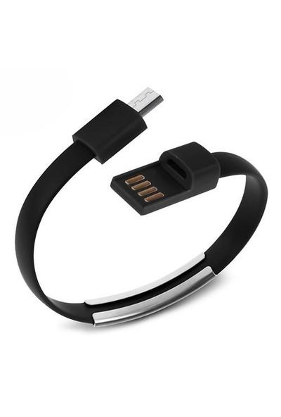 Codegen Micro USB uyumlu Bileklik Şarj Data Kablosu Siyah - 599010229
