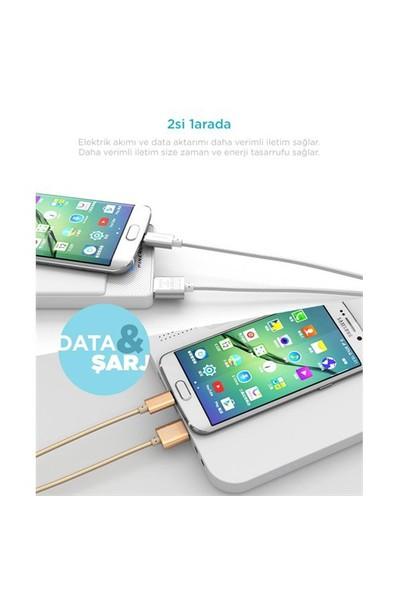 Pineng PN-306 Micro USB 1 Metre Örgülü Gümüş Kablo