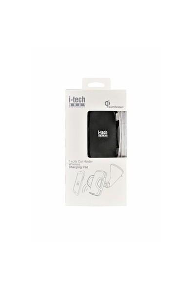 i-TechGear Qi Lisanslı iPhone 8, 8 Plus, X Kablosuz Araç Şarj Cihazı Siyah ITG-C3EWC