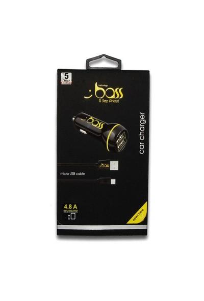 Bass 4 8 Amp Araç Şarjı Siyah 1 2M Micro Kablolu