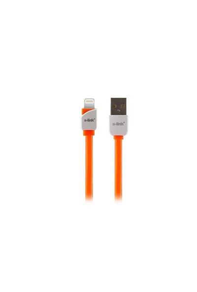S-Link Slp-503 İphone 5/5S/6/6 Plus Lightning 1M Hızlı Şarj Turuncu Data + Şarj Kablosu