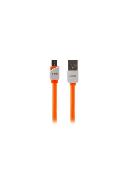 S-Link Slp-506 Micro Usb Akıllı Telefonlar 1M Hızlı Şarj Turuncu Data + Şarj Kablosu