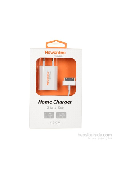 Newonline iPhone 4/4S Ev Şarjı ve USB Kablo (NW-IP4-HOME)