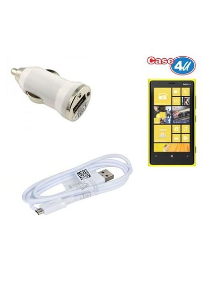 Case 4U Nokia Lumia 920 Araç Şarj Cihazı+Micro Usb Kablo