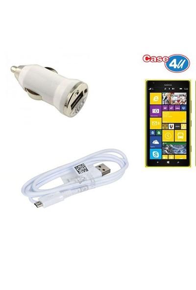 Case 4U Nokia Lumia 1520 Araç Şarj Cihazı+Micro Usb Kablo