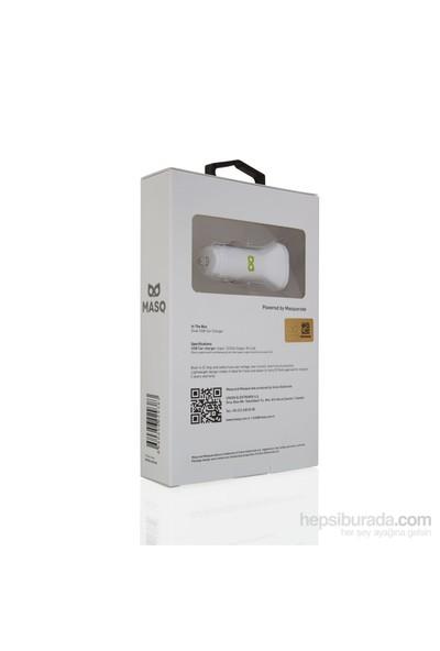 Masq 2.4A Dual Car Charger White+1M Lightning